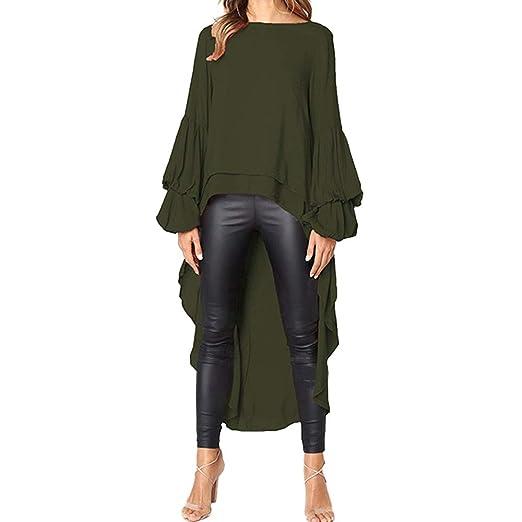 5e008f54f0197 Toimothcn Women Loose Casual Puff Sleeve Blouse Irregular High Low Hem Tops  Plus Size (Army
