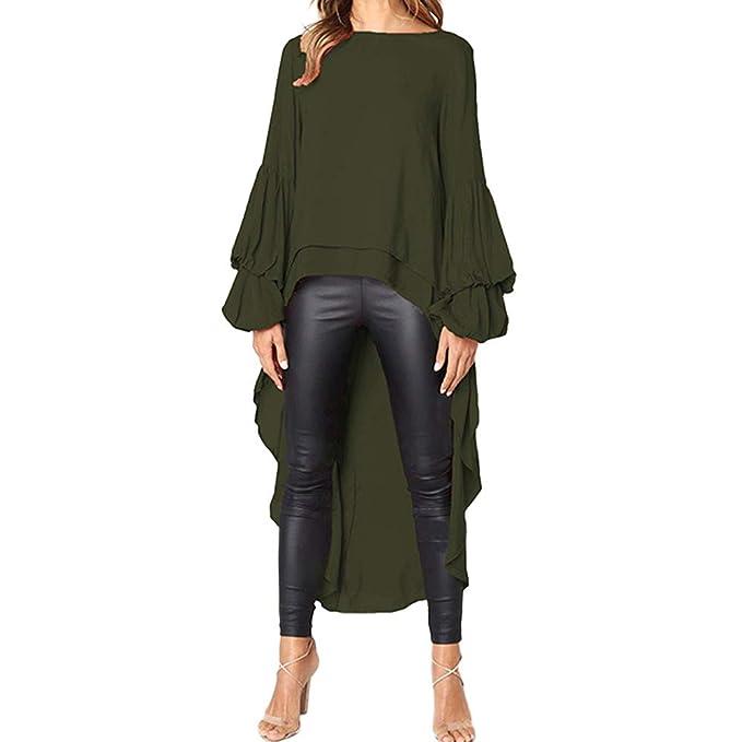 Außergewöhnlich Geili Damen Mode Cool Lange Bluse Frauen Unregelmäßige Rüschen Hem @TW_18
