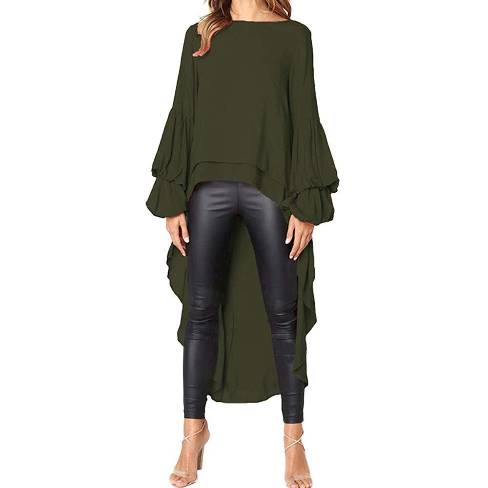 NUWFORWomen Irregular Ruffles Shirt Long Sleeve Sweatshirt Pullovers Tops Blouse AG/S(ArmyGreen,S)