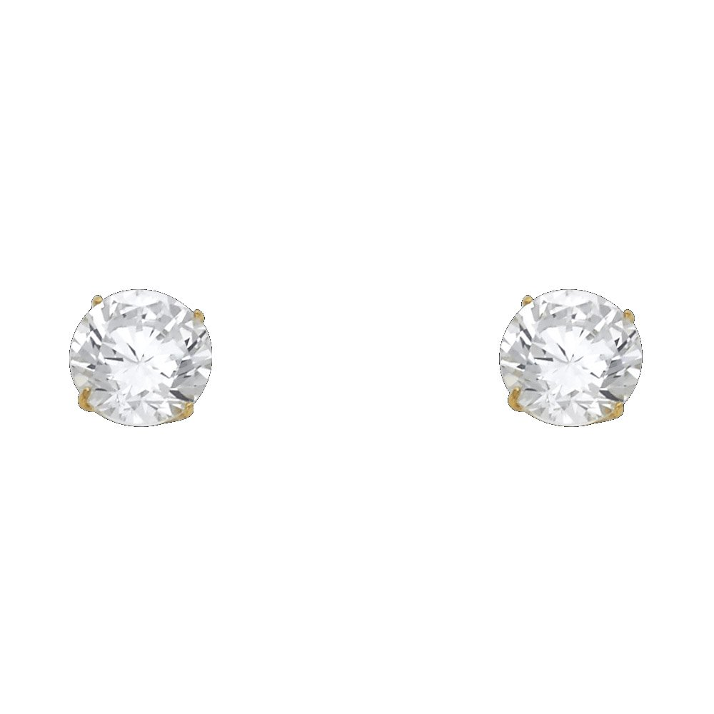 Wellingsale 14K Yellow Gold Polished 8mm Round Solitaire Basket Style Prong Set Stud Earrings With Silicone Back
