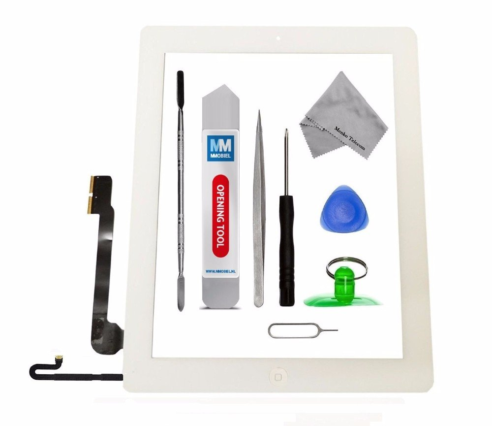 MMOBIEL Digitizer repair Kit for IPad 4 (Black) 9.7 Inch Touch Screen Front Display Assembly Incl Home Button flex Camera Holder and Pre Installed Adhesives with Tool kit IPad 4 A1558 A1559 A1560