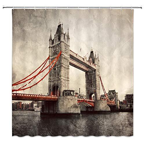AMFD Tower Bridge Shower Curtain Vintage British London...