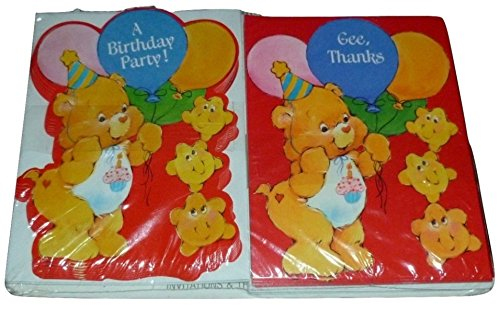 Set of 8 Vintage Care Bear Birthday Party Invitations & 8 Thank You Cards Care Bear Invitations