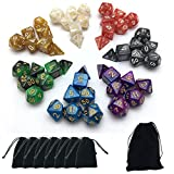 SmartDealsPro 7 x 7-Die Series Two Colors & Pearls Dungeons and Dragons DND RPG MTG Table Games Dice with FREE Pouches