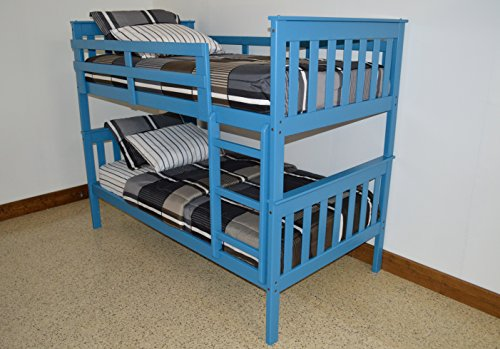 - ASPEN TREE INTERIORS BEST BUNK BEDS FOR KIDS WITH LADDER, Twin Over Twin Mission Bed Bunkbeds, Amish Made in the USA As Quality Matters, Sturdy & Long Lasting Bedroom Furniture for Children, Sky Blue