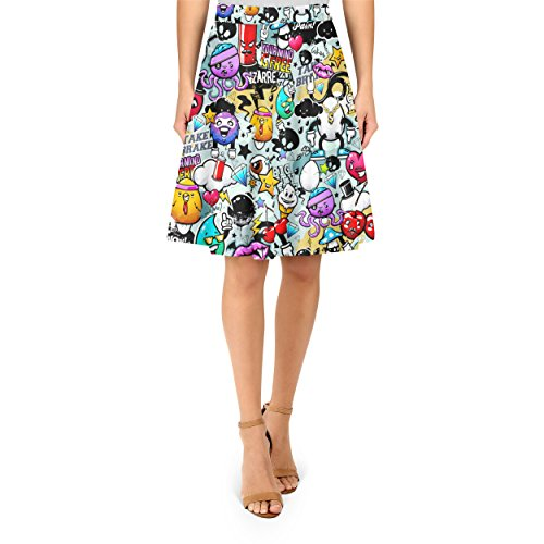 Cute Graffiti A-Line Skirt Rock XS-3XL
