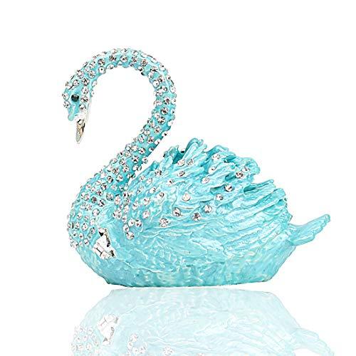Hophen Diamond Swan Trinket Keepsake Box Hinged Figurine Collectible Ring Holder Wedding Favor Gift