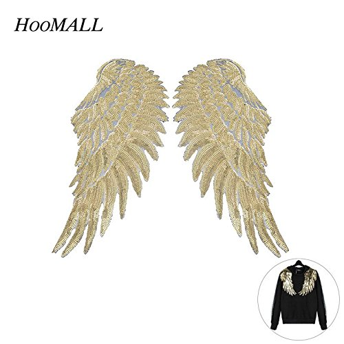 FairyMotion Hoomall Sequins Patch Diy Angel Wings Patches For Kids Clothes Sew-On Embroidered Patch Motif Applique 1Pair Perfect Patches