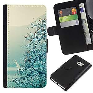 Lago Vista de Árbol Mágico Mist- la tarjeta de Crédito Slots PU Funda de cuero Monedero caso cubierta de piel Para Samsung Galaxy S6 EDGE (NOT S6)