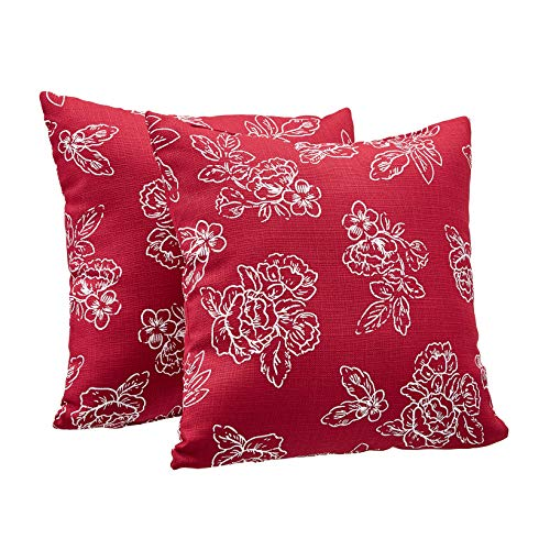 AmazonBasics 2-Pack Textured Weave Decorative Throw Pillows - 18 Square, Classic Red Floral