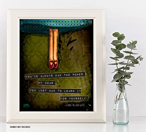 Of Wedding Oz Wizard - Inspirational Print, You've Always Had the Power My Dear, Folksy Dorothy from the Wizard of Oz Art Design