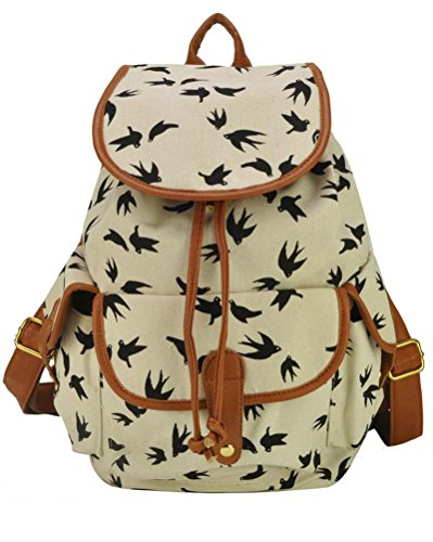 Backpack Beige School Travel Women Daypack Bag Printing Canvas Casual Bag Pattern qwFptt1A6