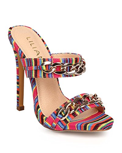 Liliana ED84 Women Rainbow Striped Peep Toe Chain Slip On Stiletto Mule - Multi (Size: 6.0)