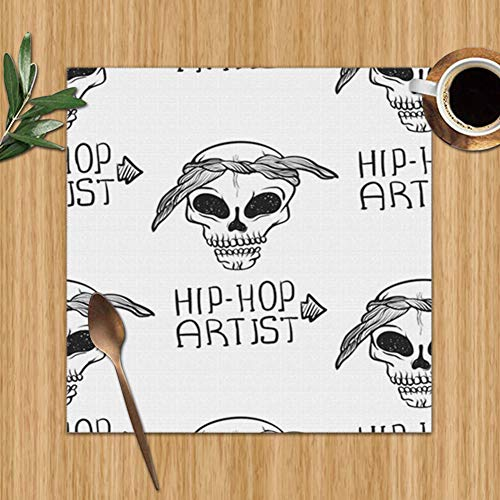 TCLAND Rap Music Hip Hop Doodle Accessory Signs Symbols Placemats, Heat-Resistant Placemats Stain Resistant Anti-Skid Washable Table Mats Placemats, Set of 6 12 x 12 Inch (Top 5 Hip Hop Artists Of All Time)