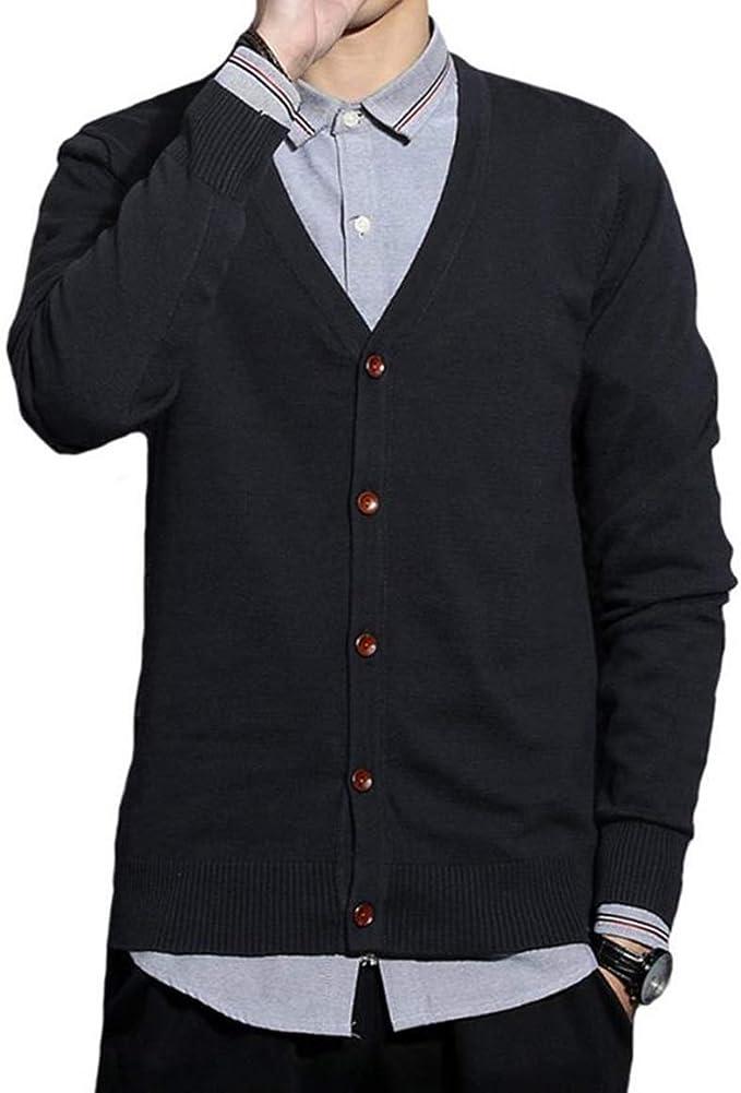 JHJSC ニット カーディガン メンズ セーター Vネック 綿 ビジネス カジュアル 無地 秋冬 おおきいサイズ
