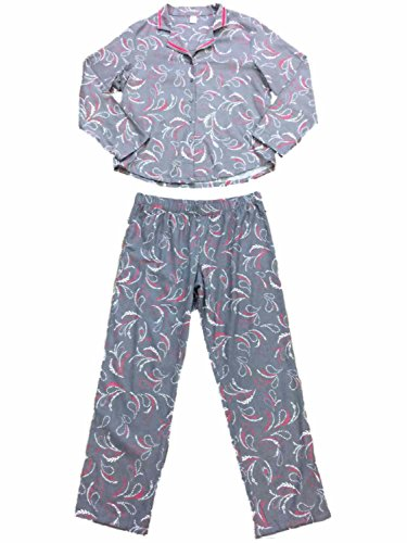 Womens Gray Pink & White Paisley Flannel Pajamas Floral Flower Sleep Set L