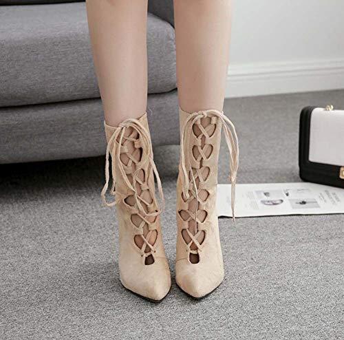 11.5 Cm Tacones De Tacón De Aguja Mujeres Botas Puntiagudas De La Cruz Correas De Vestido Hueco Zapatos De Color Puro Partido De La UE Tamaño 35-40 Beige