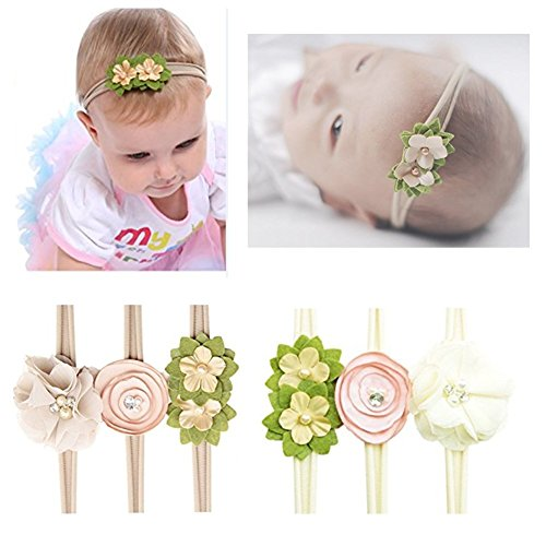 Pattern Accessories (Keylleen Baby Girl Headband Hand Sewing Elastic Headwrap Hair Accessories for Infant (Flower Pattern 6pcs))