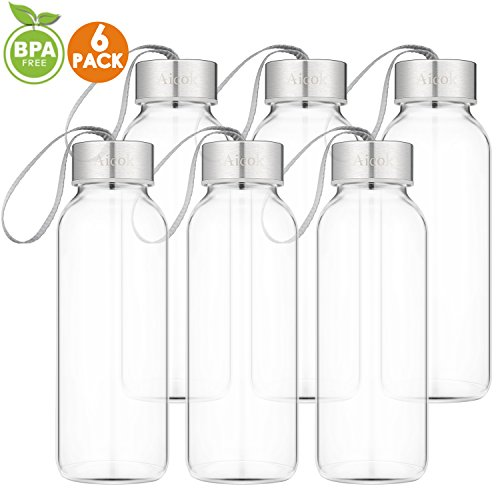 Aicok Glass Water Bottle For Juice, Beverage, ()