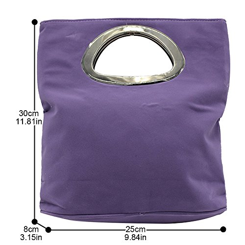 Purple Womens Ladies Light Tote Evening Bag Handbag Suede Wocharm Clutch Foldable Plain Leather Bag qOdwR6dEnx