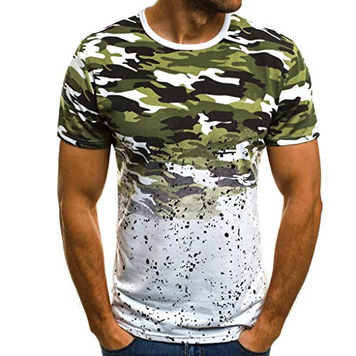 Letdown_Men tops Cotton t Shirts for Men Crew Neck Camouflage Striped Pattern Casual Fashion Lapel Short Sleeve Shirt