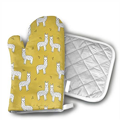 GUYDHL Unisex Oven Mitt and Pot Holder for Mustard Yellow Cute Llama - 2 Pair