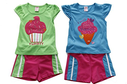 (Just Love 44047-24M Two Piece Short Set (Pack of 2) Green/Blue)