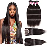 ALI JULIA Hair Brazilian Virgin Straight Hair 3 Bundles with 1PC 44 Middle Part Lace Closure 100% Unprocessed Human Hair Weave Extensions Natural Color (18 20 22 +14 inch closure)