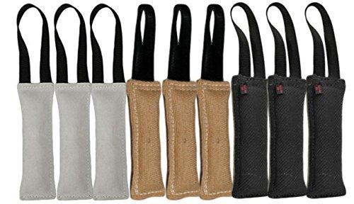 Bundle of 1 Handle Dog Bite Toys - 3 - 3'' X 10'' Leather Tug Toys, 3 - 3'' X 10'' Jute Tug Toys, 3 3'' X 10'' French Linen Tug Toys - Redline K9