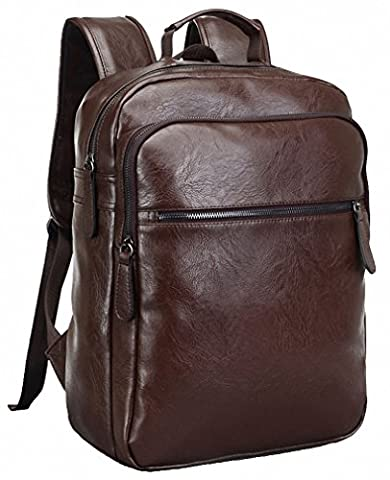 Kenox Mens Vintage PU Leather Laptop Computer Backpack School College Rucksack