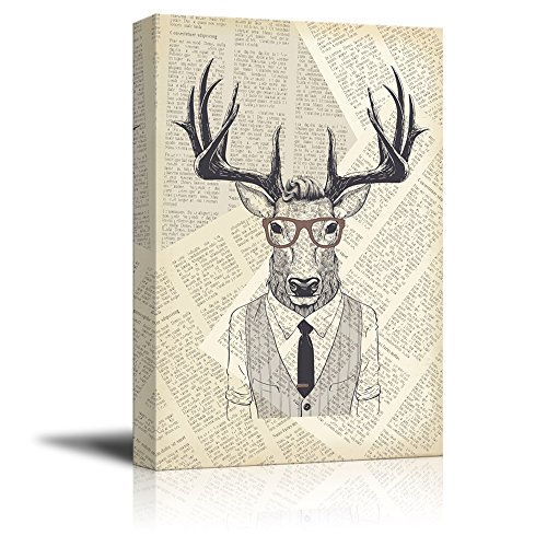 Creative Animal Figure on Vintage Paper Mr Elk in a Shirt Vest