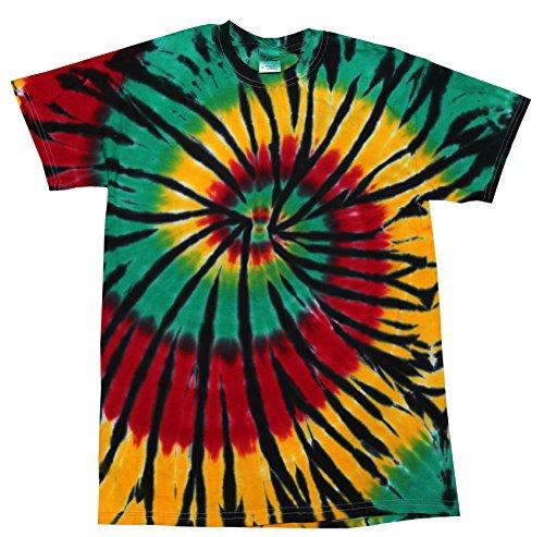 - Tie Dye Multi Color Spiral Colorful Rasta Web T-Shirt 2XL