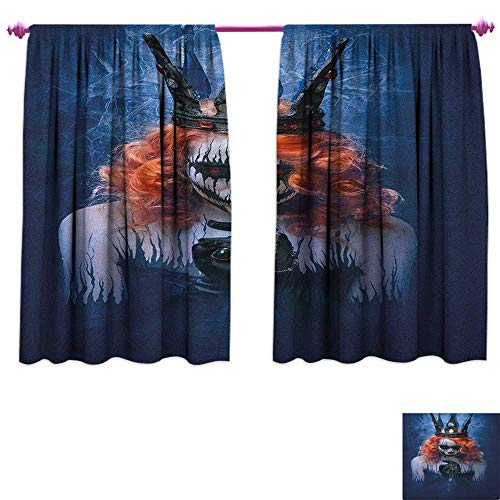 homefeel Queen Blackout Window Curtain Queen of Death Scary Body Art Halloween Evil Face Bizarre Make Up Zombie Drapes for Living Room W72 x L63 Navy Blue Orange -