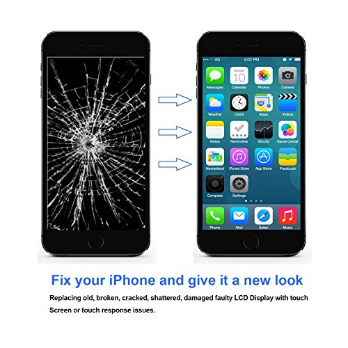 Nroech LCD Screen Replacement for iPhone 6 (Black) with Home Button, Full Assembly with Front Camera, Ear Speaker and Light/Proximity sensor, Repair Tools and Free Screen Protector Included. by Nroech (Image #4)