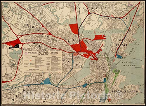 Vintage Map - 1902 Map showing the terminal facilities of Boston - Vintage Wall Art - 61in x ()