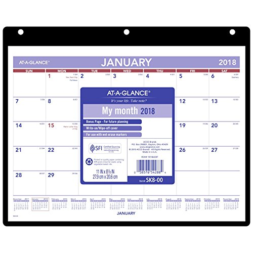 "AT-A-GLANCE Monthly Desk Pad / Wall Calendar, January 2018 - December 2018, 11""x 8-1/8"", Clear Cover, Vinyl Holder (SK800)"