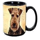 Imprints Plus Dog Breeds (A-D) Airedale 15-oz Coffee Mug Bundle with Non-Negotiable K-Nine Cash (airedale 001)