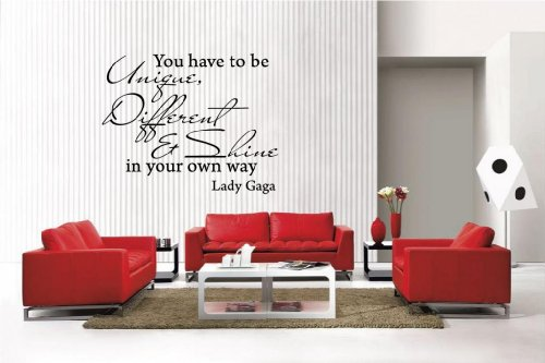 Newclew Lady Gaga Quote UNIQUE DIFFERENT SHINE removable Vinyl Wall Decal Home Décor Large