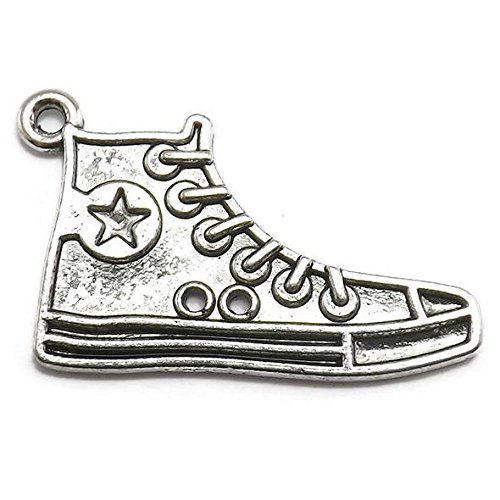 8 High-Top Sneaker Charms silver tone shoe
