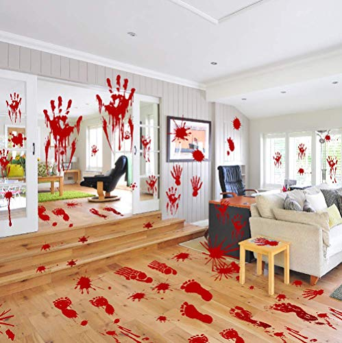 Horror Halloween Decorations Stickers Decor,Bloody Handprints &Footprint Clings
