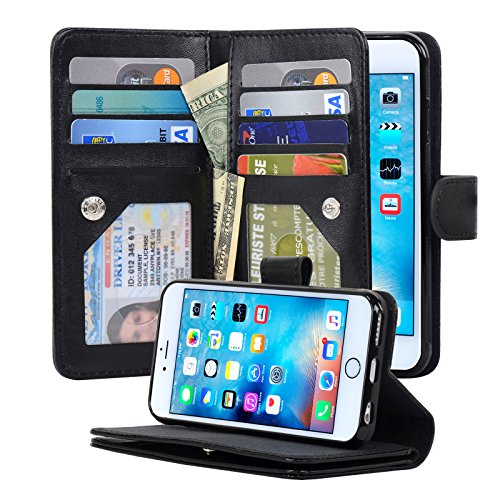 iPhone 6 / 6s Case Detachable Magnetic Housing Wallet Case [Microfiber Layer to Protect Screen from Scratches] [8 Card Slots] [2 Money Pocket] 4.7 Inch iPhone Cover - NAVOR® - (Leather Covered Magnetic Money Clip)