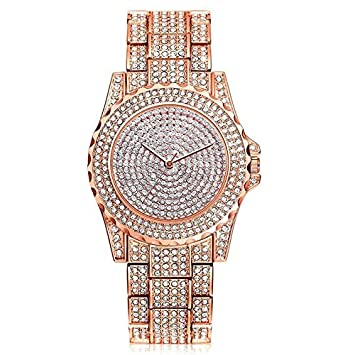 HTRHHG Full Rhinestone Quartz Watches Women Girl Rose Silver Ladies Reloj de Pulsera Reloj Mujer,