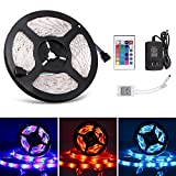 Boomile 5M/16.4ft LED Strip Lights Waterproof RGB SMD 3528 300 LED, Flexible Light Strips, Color Changing Led Light Strip Kit with Remote Controller + Power Supply Home Kitchen Bar Party Decoration