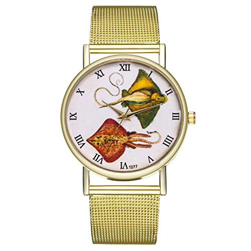 FEDULK Womens Classic Retro Wrist Watch Funny Pattern Ladies Round Mesh Strap Quartz Watch(I, One Size) ()