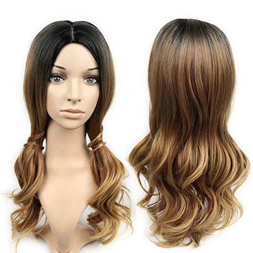 HANNE Ombre Color Long Weave Wig Heat Resistant Synthetic Hair Wig High Density Full Wigs for Women (3 Tone Ombre)