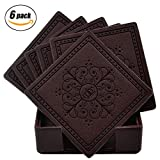 HappyDavid Leather Placemats Cup Mat Set of 6 with Coaster Holder for Fine Wine Beer or Any Beverage Use on Bars or Fine Furniture in Your Kitchen (brown square)