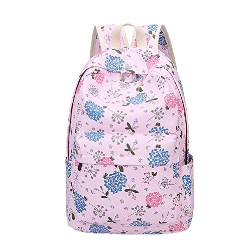 Fanci Flora Flower Prints Elementary School Rucksack Backpack for Teenage Girls Canvas Casual Daypack for Women