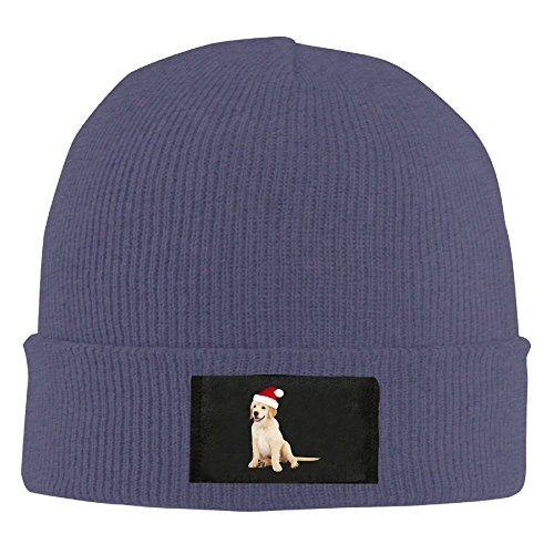 Adult's Cute Dog With Santa Hat Clipart Elastic Knitted Beanie Cap Winter Outdoor Warm Skull Hats One Size Navy]()