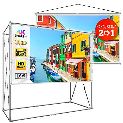 JaeilPLM 120-Inch Portable Projector Screen, Indoor Outdoor Compatible with Rectangle Stand for Home Theater, Gaming, Office
