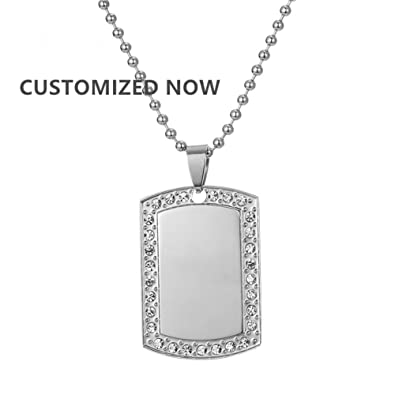 LF Mens Personalized 316L Stainless Steel Crystal Military Army Marine Custom Dog Tag Pendant Necklace For